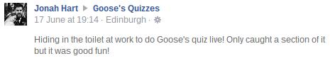 Goose's Quizzes Live Review