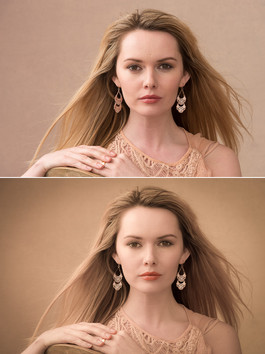 Carla before and after colour grading and portrait editing