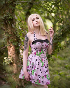 Glamour & Portrait Photography with Sammie looking demure in the woods