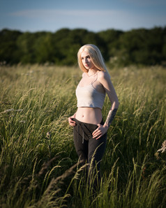 Natural Light Glamour Photography with Sammie in her sportswear as the sun sets