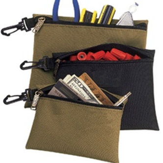 3 Poly Multi-Purpose, Clip-On, Zippered Bags