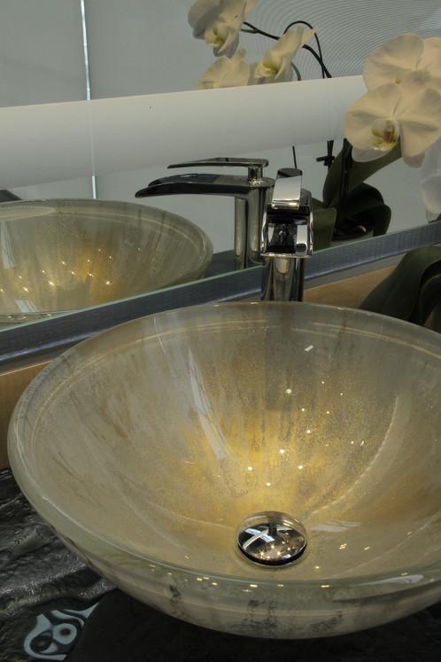 Gold Leaf Sparkle Sink | Studio G3 Glass | Vancouver | Los Angeles | Las  Vegas | Fine Art