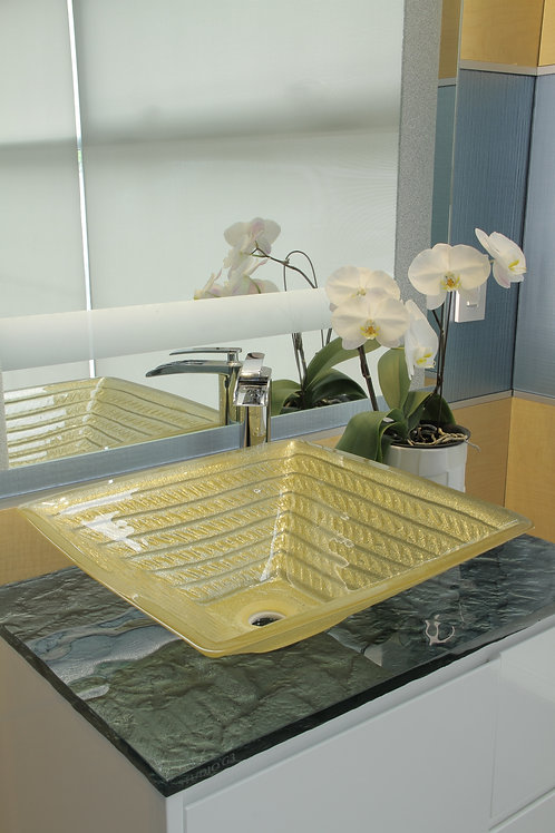 Textured Square Gold Sink