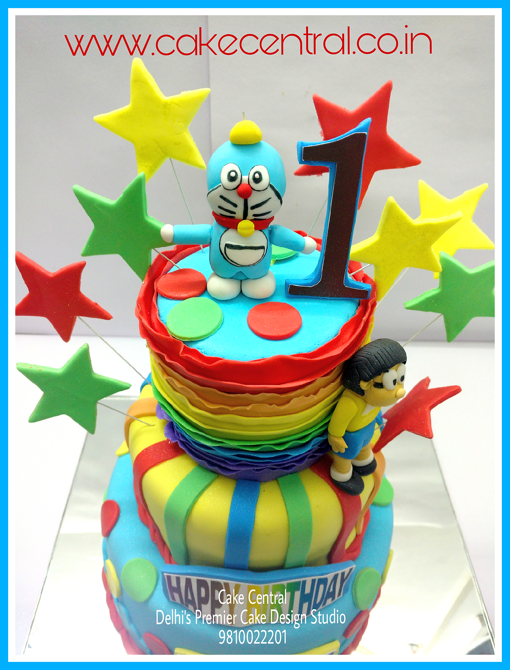 Doraemon Birthday Cake , Fondant themed Doraemon Cake by Cake Central Delhi . New Delhi