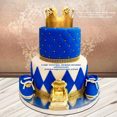 Royal Blue & Gold Prince Cake Online Delhi Noida Gurgaon