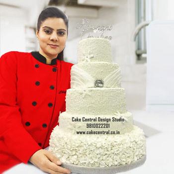 White Christian Wedding Cake Delhi Online