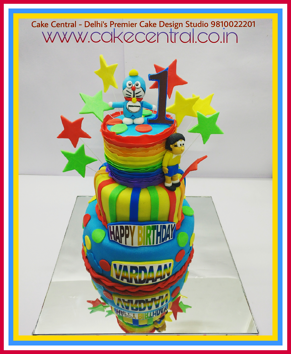 Designer First Birthday Doraemon Birthday Cake , Fondant themed Doraemon Cake by Cake Central Delhi . New Delhi