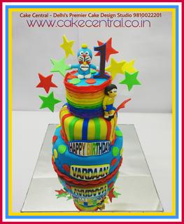 Order Online Doraemon cake 3 tier designer cake delhi - Doraemon themed Cake Delhi