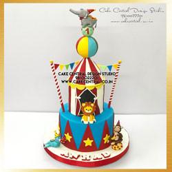 Circus Elephant First Birthday Cake in Delhi Online