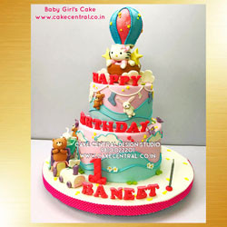 Hello Ketty First Birthday Cake in Delhi Online for Baby Girl