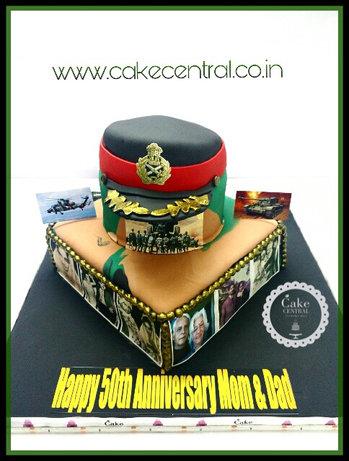 Indian Army 50th Wedding Anniversary Cake in Delhi NCR