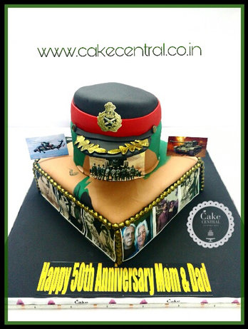 Indian Army 50th Wedding Anniversary Cake in Delhi NCR