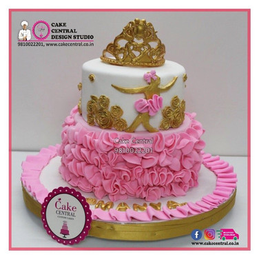 Golden & Pink Princess Cake in Delhi Online