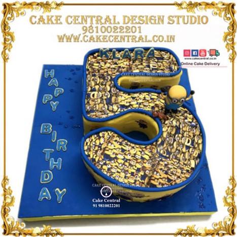 5 Number Minion Cake-Delhi-Online