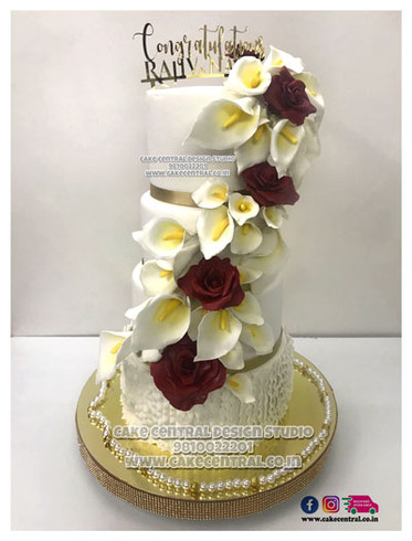 Christian Wedding Cakes in Delhi - White with Red Flowers Christain Wedding Cake Design Delhi Online
