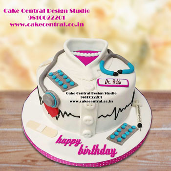 Groovy Birthday Cake For Male Doctor With Name Yummimages Birthday Cards Printable Trancafe Filternl
