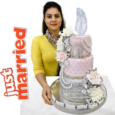 Pink & Silver Wedding Cake in Delhi Online