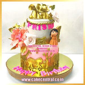 Golden Jungle Safari  Cake for Baby Girl Delhi