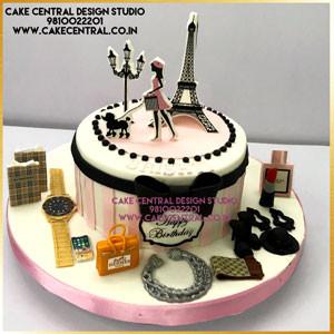 Paris Makeup Cake Design in Delhi