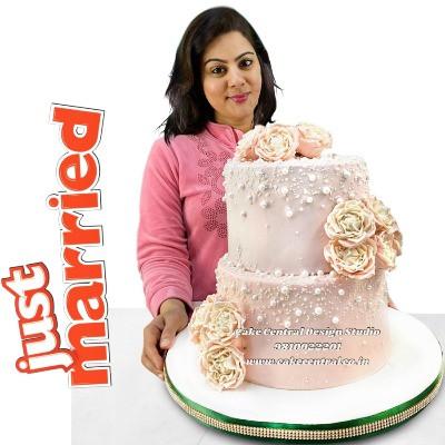 Pink Wedding Cake in Delhi