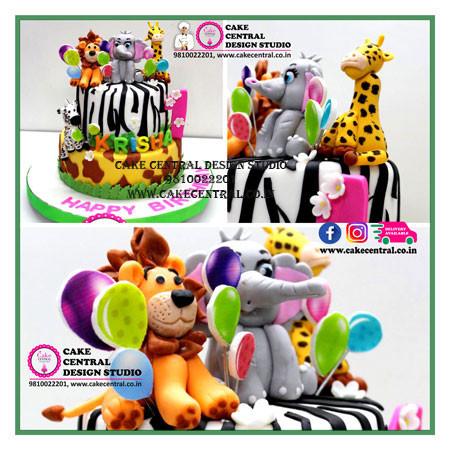Jungle Theme Birthday Cake in Delhi Online