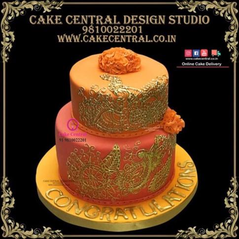 Golden_Orange_Wedding_Cake_Delhi_Online