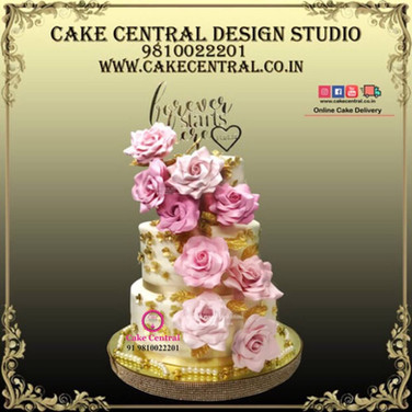 Roses_Golden_Wedding_Cake_Delhi_Online