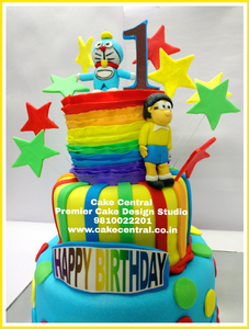 1st Birthday Rainbow Doraemon Cake - Fondant themed designer cake . New Delhi
