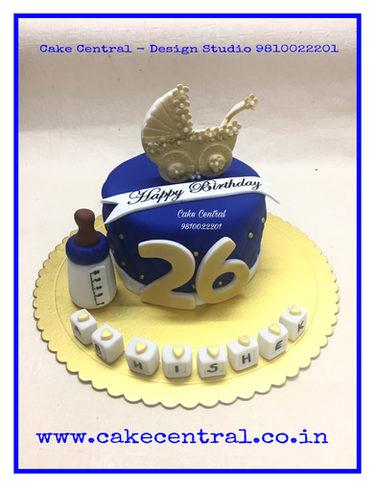 Blue & Golden Themed Birthday Cake Delhi