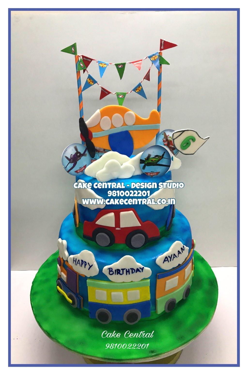 Toy Plane Car Train Theme 3 Tier Kids Birthday Cake