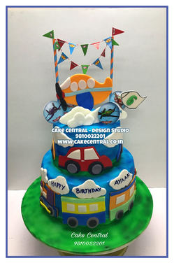 Toy Plane ,Car & Train theme 3 tier Kids Birthday  Cake