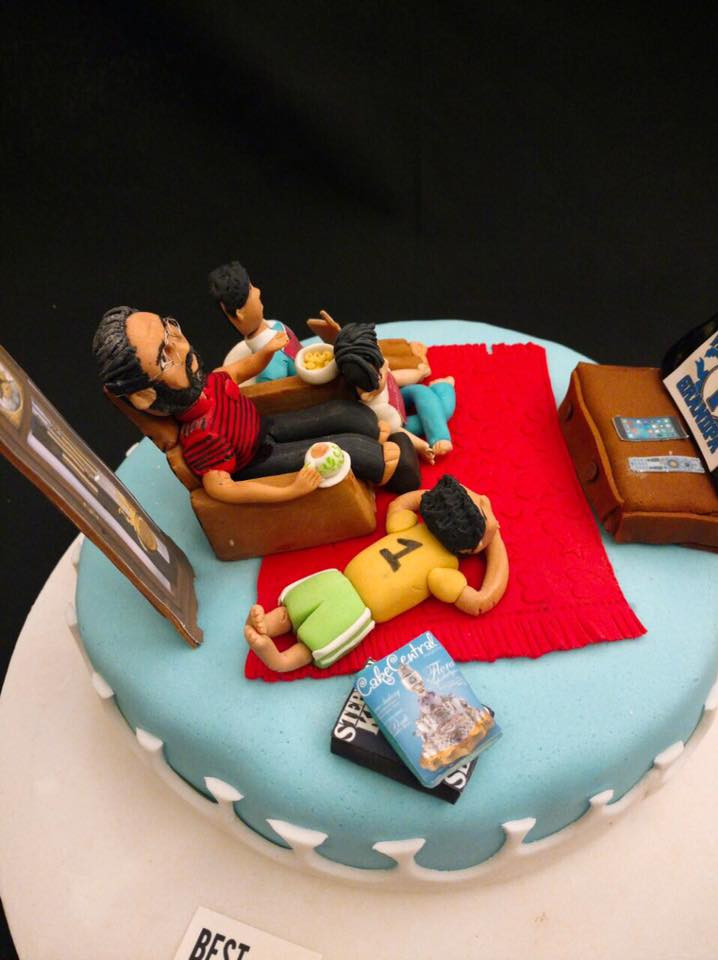 Grand Father With Kids Themed Fondant Birthday Cake By Central