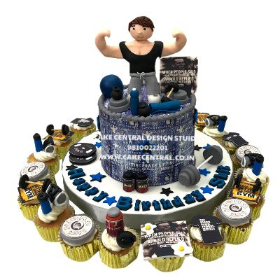 Gym Birthday Cake with Cupcakes in Delhi