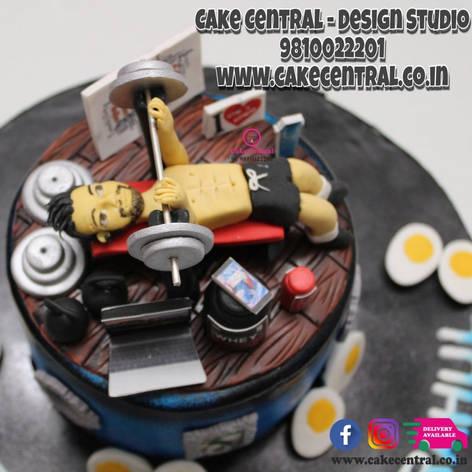 Gym Cake in Delhi Online | Body Builder theme Cake | Birthday Cake Gym Design Delhi Online with Delivery to Delhi , Noida , Gurgaon