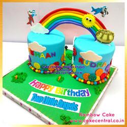 Rainbow Cake for Twins in delhi Online\ 1st Birthday Cake Design