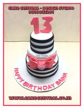 Pink Bow Cake Delhi | Pink Bow Black Stripes Cake | Online Cake Delivery Delhi , Delhi NCR , Gurgaon , Noida