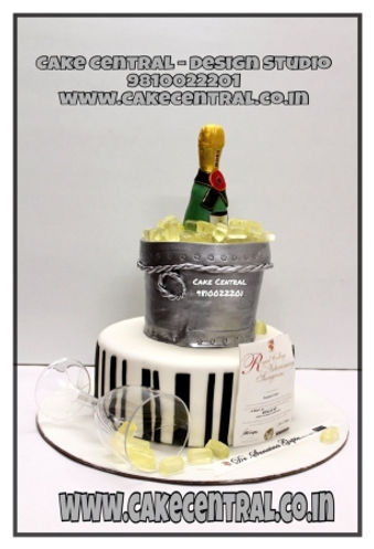 Champagne Ice Bucket Theme Cake in Delhi Online