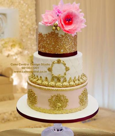 Golden Wedding Reception Cake in Delhi Online