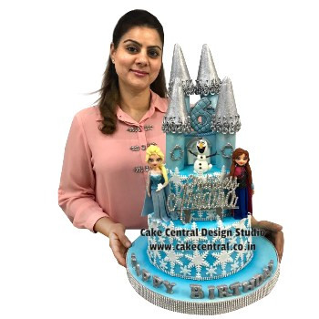 frozen elsa and anna castle cake in delhi online