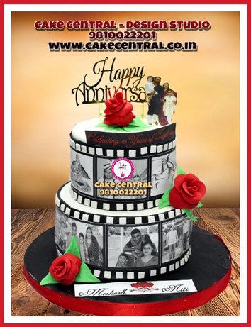 Personalized Tired Wedding Anniversary Cake with Photos Delhi |Black & White Tired Anniversary Cake Delhi | Cake Central – Premier Cake Design Studio , New Delhi Delhi