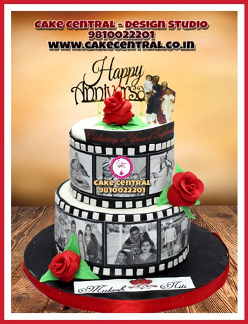 Personalized Tired Wedding Anniversary Cake with Photos Delhi |Black & White Tired Anniversary Cake Delhi | Cake Central – Premier Cake Design Studio , New Delhi Delhi