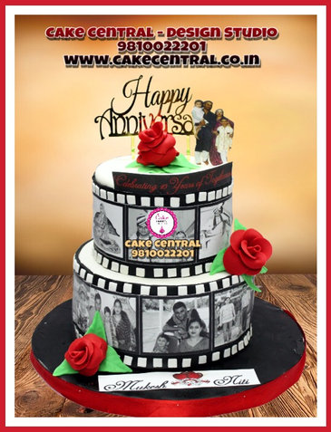 Personalized Tired Wedding Anniversary Cake with Photos Delhi  Black & White Tired Anniversary Cake Delhi   Cake Central – Premier Cake Design Studio , New Delhi Delhi