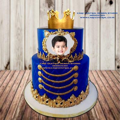 Royal Blue & Gold Crown Cake Online Delhi Noida & Gurgaon