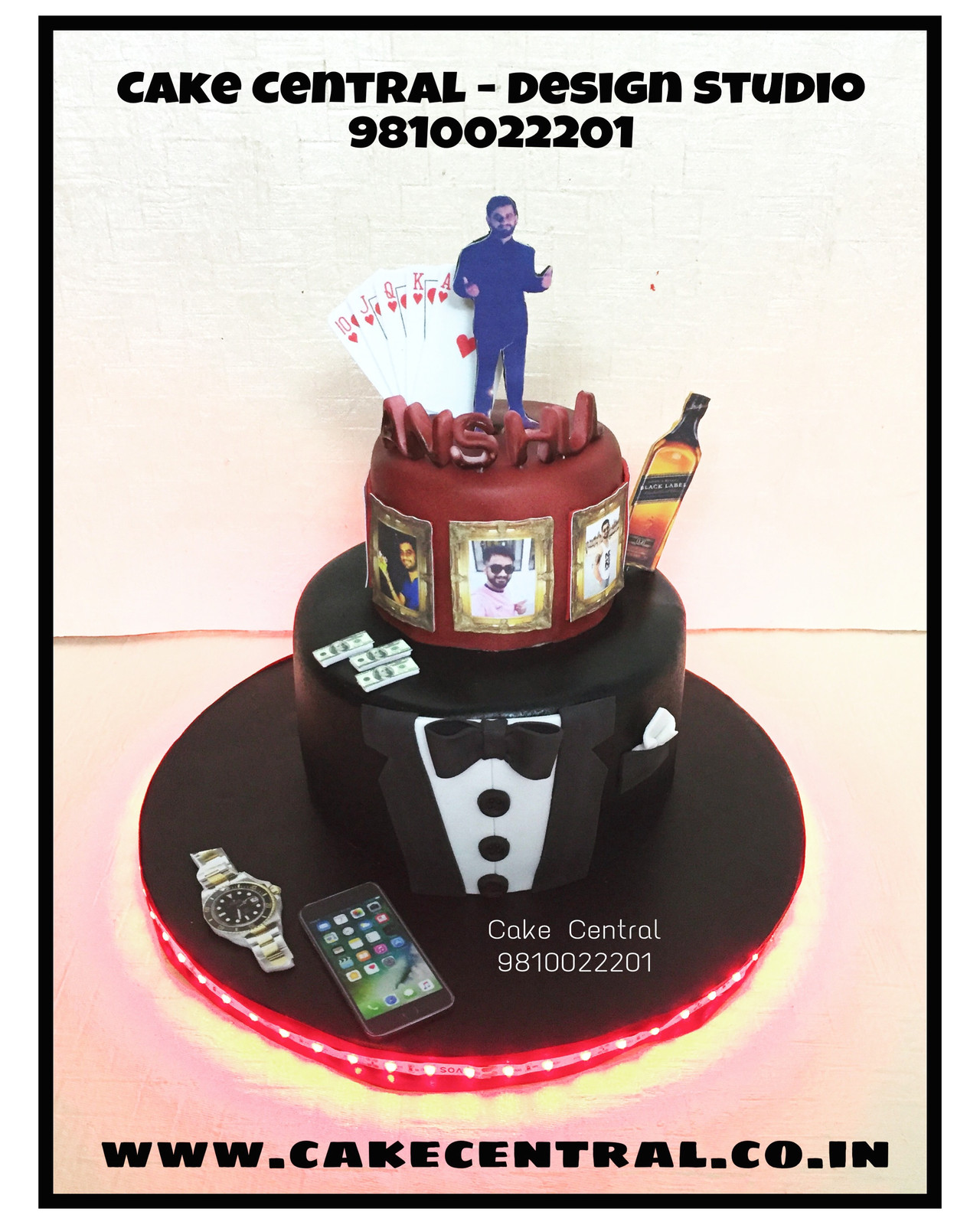 Gentleman Playing Cards Birthday Cake Delhi