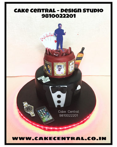 Gentleman Playing Cards Birthday Cake Delhi