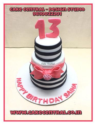 Pink & Black Stripes Teen Girl Cake Delhi