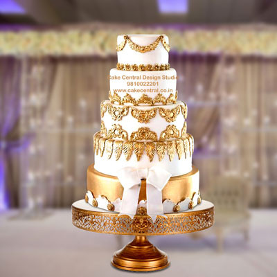 Christian Golden Wedding Cake Design in Delhi