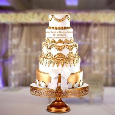 Christian Golden Wedding Cake Design in Delhi