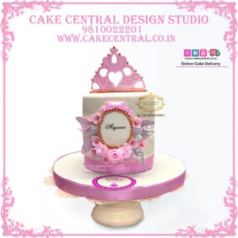 Pink Crown Princess Cake in Delhi Online