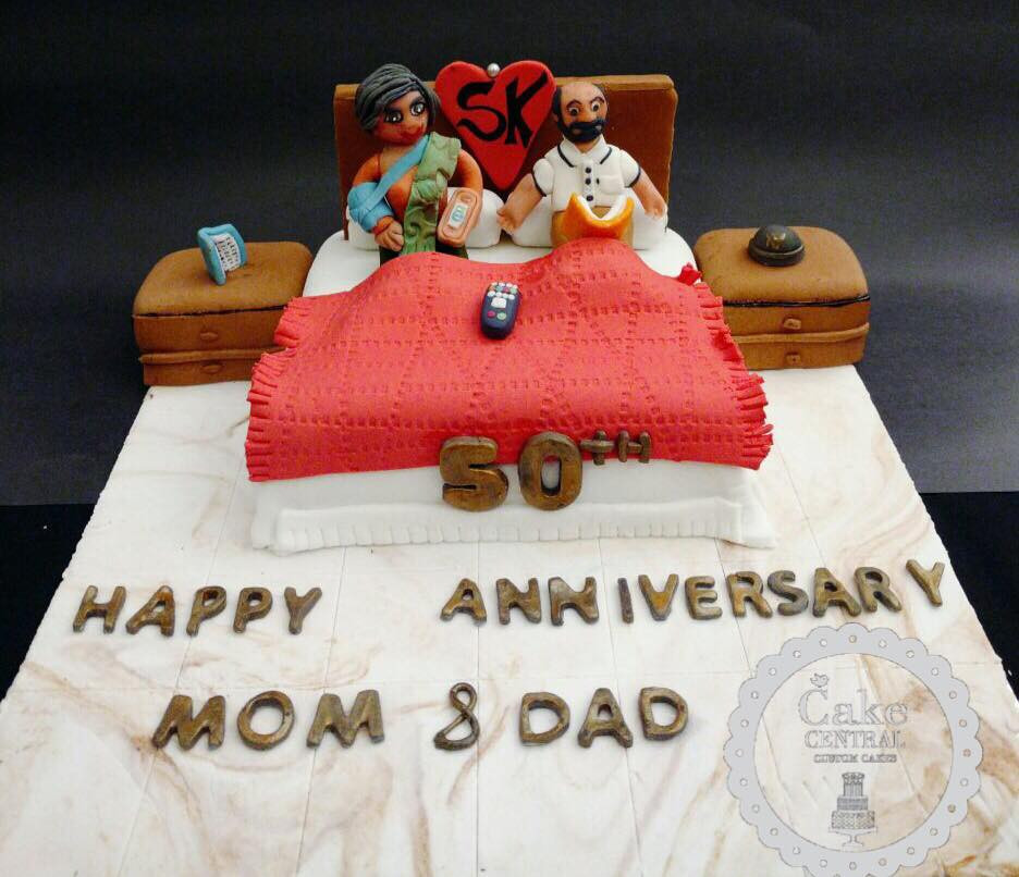 Cute Anniversary Themed Fondant Cake In Delhi NCR